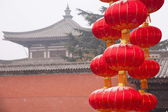 Xi'an Famen Temple wall of red lanterns — Stock Photo