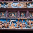 XiQin Zigong Salt Museum Hall stage skirts carved wood art historical stories and legends — Stock Photo