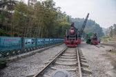 Leshan City, Sichuan Qianwei Kayo small train station will rock bee global steam engine train Expo Cultural Corridor — Stock Photo