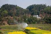 Traveling in Leshan City, Sichuan Qianwei Kayo train rapeseed dam little train between stations — Stock Photo