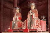 Fushun Fushun County, Sichuan Province Dacheng hall dedicated statue of Confucius Temple, and four with: Yan Hui, Zi Si, Zeng, and twelve philosopher Mencius. — Stock Photo
