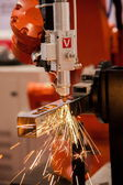 Exhibition on Chinese metallurgy welding robot show — Stock Photo