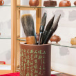 Purple sand brush pen holder — Stock Photo