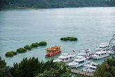 Lalu Sun Moon Lake in Nantou County, Taiwan Yacht Island Ferry Terminal — Stock Photo