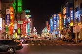 Taiwan's Chiayi City street shops in the mountain night — Stock Photo