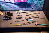 Show loggers and railroad workers used tools within Taiwan Alishan, Chiayi City Museum — Stock Photo
