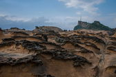 "Wanli District, New Taipei City, Taiwan ""Yehliu Geopark"" and ""stiff stone"" strange rocky landscape — Stock Photo"