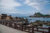 "Wanli District, New Taipei City, Taiwan ""Yehliu Geopark"" mushroom-shaped rock strange rocky landscape — Stock Photo"