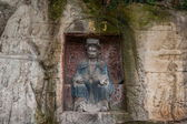 Peacock cave shrines Anyue County, Sichuan Province, outside the temple on the cliff — Stock Photo