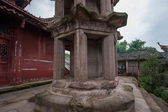 After Anyue County, Sichuan Province in the Qing Dynasty Peacock hole on the top of a temple built in the Tang Dynasty style high pedestal by the head Spire Danyan — Stock Photo