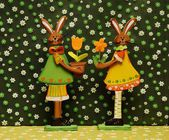 Easter decoration flowers and hare  — Stock Photo