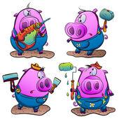 Piglets make repairs — Vector de stock