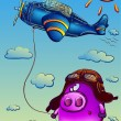Funny pig in a flying helmet — Stock Vector