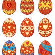 Set of Easter eggs with pattern hearts — Stock Vector