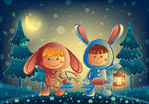 Children dressed bunny with a lamp at night — 图库矢量图片