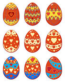 Set of Easter eggs with pattern hearts — Vecteur