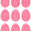 Set of pink Easter eggs with ornament — Stock Vector #43195523