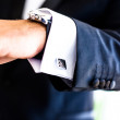 Hand with watch and cufflinks — Stock Photo #25842143