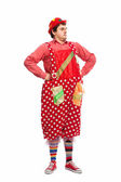 Funny adult dressed in clown isolated on white — Stock Photo
