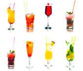 Set of cocktails isolated on white background — Stock Photo