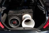 Car audio system at EMMA 2013 in Lviv — Stock Photo