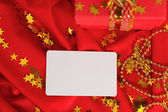 Red gift, visiting card — Stock Photo