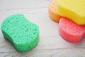 Colorful sponges for washing — Stock Photo
