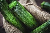 Zucchini in sack — Stock Photo