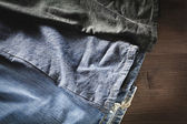 Jeans a variety of colors — Stock Photo