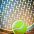 Stock Photo: Ball and tennis racket