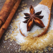 Stock Photo: White and brown sugar