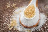 Refined sugar and cane sugar — Foto Stock