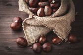 Chestnuts in jute — Stock Photo