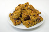 Stack of home made chocolate flapjack oat cakes — Stock Photo