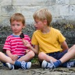 Stock Photo: Two boys sharing ice lolly