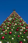 Christmas tree against a blue sky — Stock fotografie