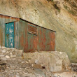 Stock Photo: An old rusty tin shed