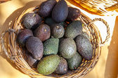 Avocados in basket — Stock Photo