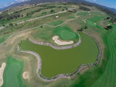 Aerial view of a golf field — Stock Photo