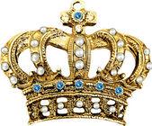 キングベッド石ビンテージ華やかな青い石の金の王冠 — ストック写真