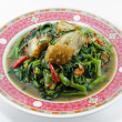 Fried Morning Glory with Crispy Pork — Foto de Stock