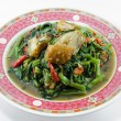 Fried Morning Glory with Crispy Pork — Stok fotoğraf