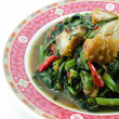 Fried Morning Glory with Crispy Pork — Stock fotografie