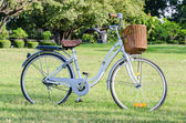 White Bicycle with Basket in the Park — Stok fotoğraf