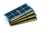 Stack of DDR RAM sticks on isolated background — Stock Photo