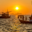 Sunrise with fishing boat at Na Ban Pier — Stock Photo #37289907
