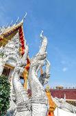 寺背景的龙族雕像之王 — 图库照片