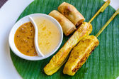 Vegetables spring roll and chicken satay — Stock Photo
