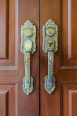 Metal door handle vintage style over wooden door — Foto de Stock