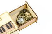 Clock Locket Necklace in wooden box isolated over white background — Stock Photo